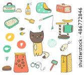 Stock vector cute hand drawn doodle cat stuff kitten objects icons 486772846
