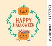 happy halloween greeting card ... | Shutterstock .eps vector #486777976