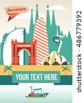 barcelona cityscape vector flat ...   Shutterstock .eps vector #486779392