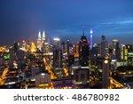 blurred bokeh of view in kuala... | Shutterstock . vector #486780982