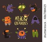cartoon halloween monsters | Shutterstock .eps vector #486788425