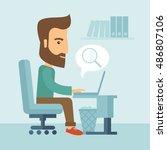 a buisnessman sitting infront... | Shutterstock . vector #486807106