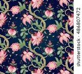 seamless vector floral vintage... | Shutterstock .eps vector #486807472