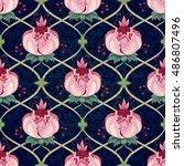 seamless vector floral vintage...   Shutterstock .eps vector #486807496