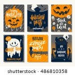 vector set of halloween... | Shutterstock .eps vector #486810358