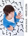 teenager has no clue   standing ...   Shutterstock . vector #486813286