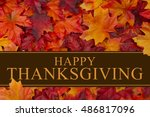 happy thanksgiving greeting ... | Shutterstock . vector #486817096