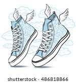 sneakers patterned laces and... | Shutterstock .eps vector #486818866