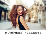 portrait of a beautiful young... | Shutterstock . vector #486820966