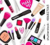 seamless pattern fashion makeup ... | Shutterstock .eps vector #486827065