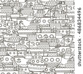 doodle boats seamless pattern.... | Shutterstock .eps vector #486834496