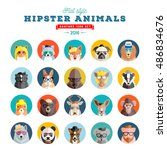 flat style hipster animals... | Shutterstock .eps vector #486834676