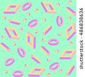 trendy geometric memphis style... | Shutterstock .eps vector #486838636