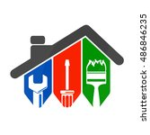 repair of home with a tool  for ... | Shutterstock .eps vector #486846235