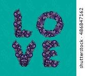 inscription love lavender... | Shutterstock .eps vector #486847162
