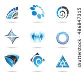 various blue abstract icons... | Shutterstock . vector #486847315