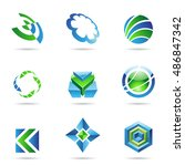 abstract blue and green icon... | Shutterstock . vector #486847342