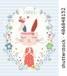 cute rabbit graphic design... | Shutterstock .eps vector #486848152