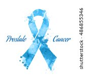 blue ribbon prostate cancer ... | Shutterstock .eps vector #486855346
