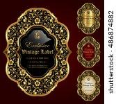 gold framed labels   vector set | Shutterstock .eps vector #486874882
