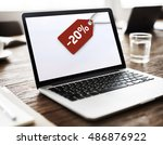 sale discount label tag... | Shutterstock . vector #486876922