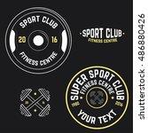 vector image of gym logo   Shutterstock .eps vector #486880426