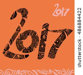 new year 2017 doodle greeting... | Shutterstock .eps vector #486884422