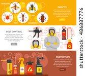 pest control horizontal banners ... | Shutterstock .eps vector #486887776