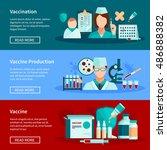 vaccination flat horizontal... | Shutterstock .eps vector #486888382