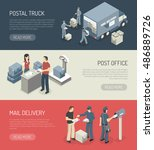 post office mail orders... | Shutterstock .eps vector #486889726