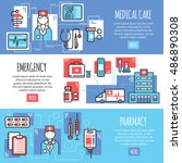 medical horizontal banners with ...   Shutterstock .eps vector #486890308