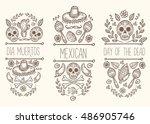 mexican sketch doodle... | Shutterstock .eps vector #486905746