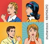 pop art design of man and woman ... | Shutterstock .eps vector #486906292