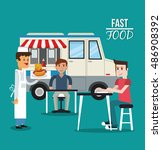 truck and fast food design | Shutterstock .eps vector #486908392