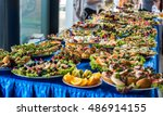 a long table with a lot of... | Shutterstock . vector #486914155