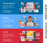horizontal blogging and blog... | Shutterstock .eps vector #486916858