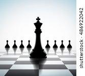 king between pawns. concept... | Shutterstock .eps vector #486922042
