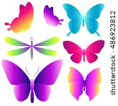 color butterflies isolated on a ... | Shutterstock . vector #486923812