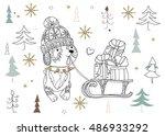 cute christmas cartoon dog in...   Shutterstock .eps vector #486933292