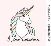 magic unicorn   Shutterstock .eps vector #486944842