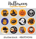 cupcake toppers for halloween.... | Shutterstock .eps vector #486954346