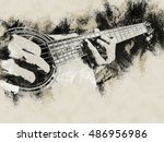 closeup photo of an acoustic... | Shutterstock . vector #486956986