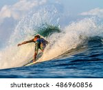 picture of surfing a wave... | Shutterstock . vector #486960856