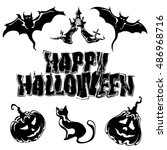 happy halloween  set of icons... | Shutterstock . vector #486968716