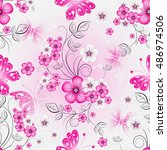 floral effortless spring... | Shutterstock .eps vector #486974506