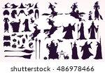 happy halloween collection ... | Shutterstock .eps vector #486978466