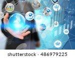 businessman working on virtual... | Shutterstock . vector #486979225