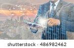 double exposure of businessman...   Shutterstock . vector #486982462