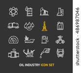 oil industry icon set  outline...