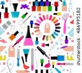 manicure  nail salon. seamless...   Shutterstock .eps vector #486995182